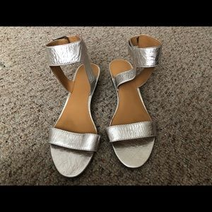 Nine West Silver Strappy Sandals Size 9